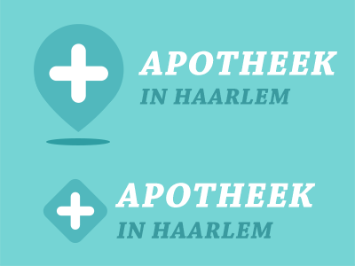 Logo Apotheek in Haarlem pharmacy geo pin location logo flat medical haarlem pharma