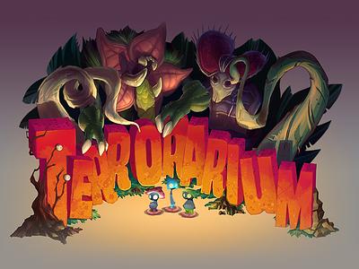 Terrorarium Title illustration mushrooms monsters game logo