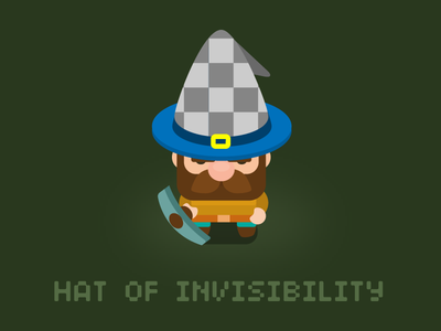 Hat of invisibility for 'Dig Bombers' game hat character prop art game