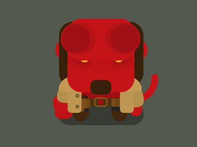Flat Vector Hellboy hellboy fan art fanart icoeye character illustration