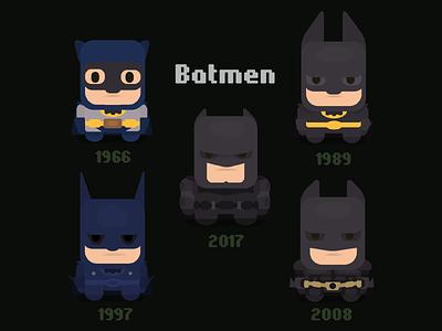 Flat batmen comics batman fanart flat  design vector flat character illustration