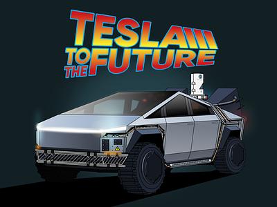 Tesla to the future illustrator backtothefuture delorean tesla cybertruck tesla