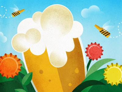 Lowes Food Spring OOH typography bees flowers texture out of home spring beer art direction vector design illustration