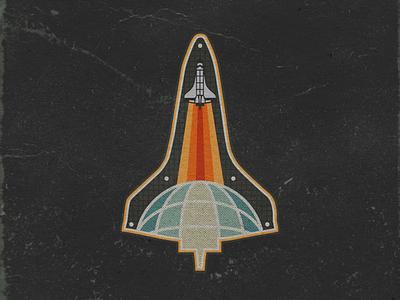 Space Shuttle Sticker explore retro design retrospective space shuttle nasa logo design graphic design branding marketing logos