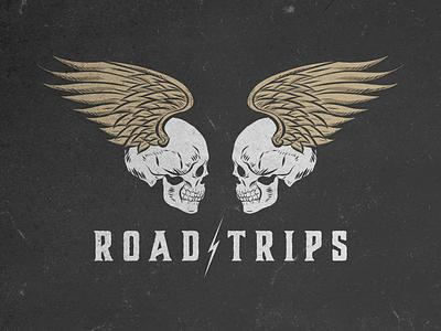 Road Trippin marketing branding grunge drawing illustration logo design skulls grateful dead graphic design