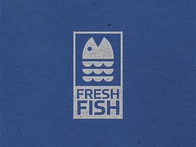 Fresh Fish icon travel blue design branding marketing seafood grunge stamp effect packaging graphic design logo