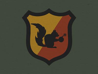 Bomb Squad outdoor badge vermont artist vermontermade illustrator green military logo squirrels badges logo design graphic design design illustration logos patches