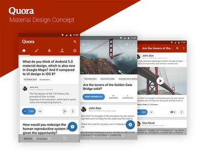 Quora - Material Design Concept flat ux ui google android app mobile redesign concept design material quora