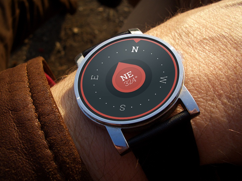 Free PSD - Minimalist Compass Concept psd free moto watch ui concept compass minimalist design material wear android