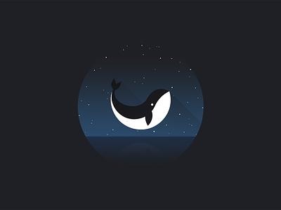 Whale illustration shadow minimal sky stars water design flat illustration whale