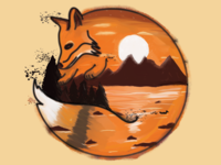 Painted Fox Mountain Scene