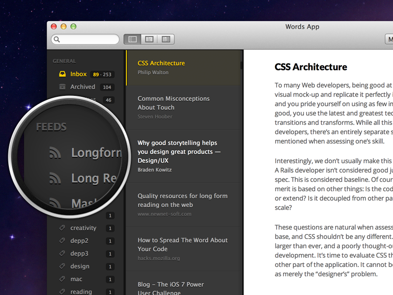 Sneaky little preview words mac osx rss webdesign responsive dark light typography icon desktop gui ui