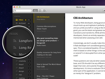 Sneaky little preview words mac osx rss webdesign responsive dark light typography icon desktop gui ui