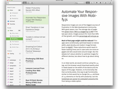 Redesigned Sidebar words sidebar typography mac app fonts article reading ui desktop navigation stream