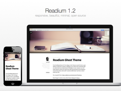 Readium 1.2 ghost theme open source minimal typography free font ui blog article