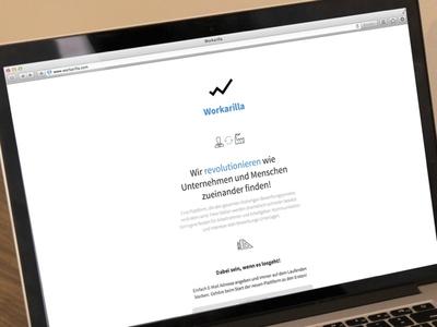 Workarilla landing page landingpage white blue black simple design email