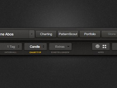 Charting Navigation Final navigation tabs user interface ui gui icons dropdown html css header bar dark