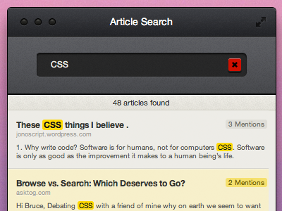 Article Search app html desktop osx reading typography interface ui ux buttons icons text