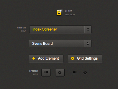 Grid UI Set (HTML/CSS) ui gui set free download interface dark html css typography icons buttons