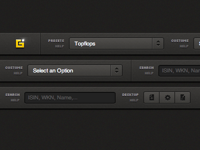 Select an Option navigation tabs user interface ui gui icons dropdown html css header bar dark