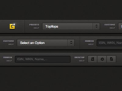 Select an Option navigation tabs user interface ui gui icons dropdown html css header bar dark