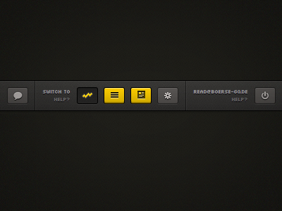 Switch to ui interface navigation bar icons buttons top hover yellow active icon options chart news list chat dark