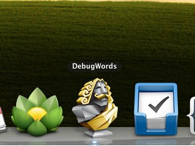 The App Icon icon desktop app words dark gold statue dock mac