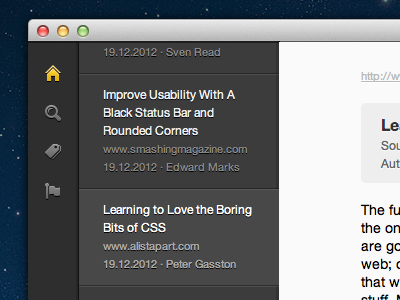 Learning to Love the Boring app ui gui mac osx navigation bar dark icons icon text typography article news stream html css