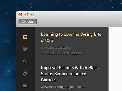 Bigger titlebar mac osx app desktop dark ui gui typography instapaper icons icon list feed article read
