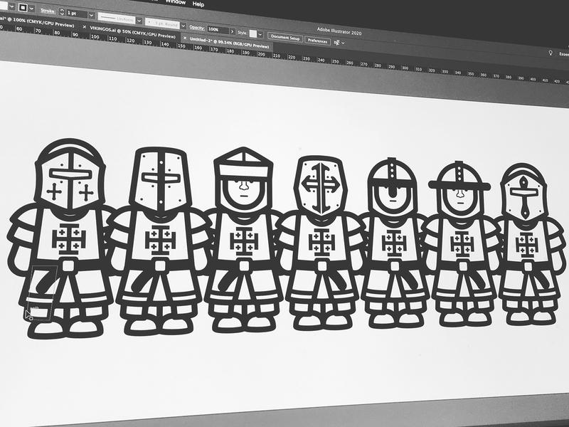 KNIGHTS vector illustration digital vector illustration illustration digital illustration characters design characters warriors knight knights