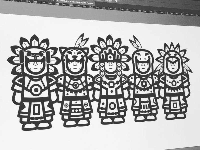 AZTECAS digital illustration warriors characters character design emperoraztec snakewarrior jaguarwarrior eaglewarrior aztecs aztecas