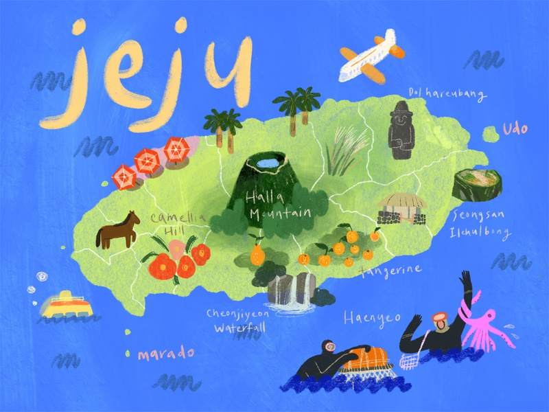 Illustrated Map, Jeju Island