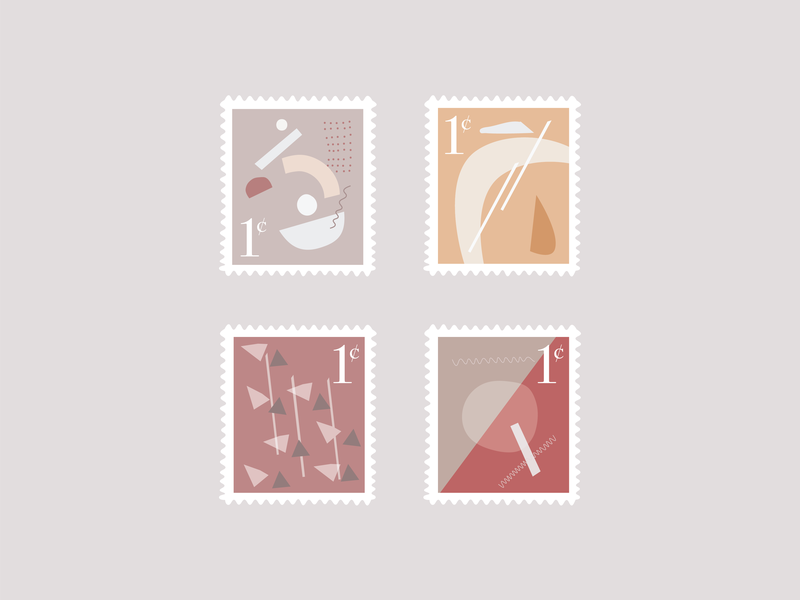 Modern Primative Stamp Collection warm modern vector stamps
