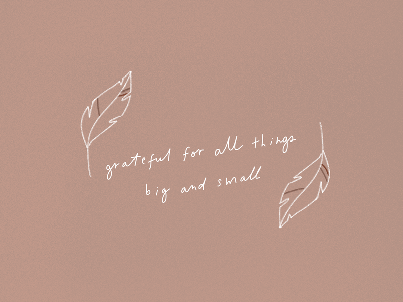 Grateful minimal simple calligraphy feather illustration hand drawn