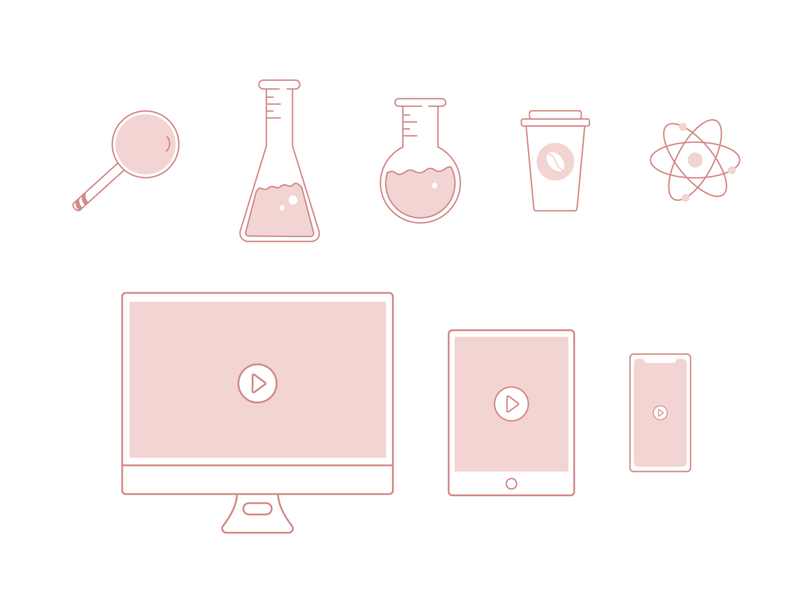 ChiChi Science illustration web ui ux icon branding logo vector simple minimalist icons set iconography