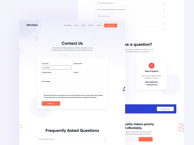 Contact Us Page website modern minimal ui flat  design contact us contact form lead form contact