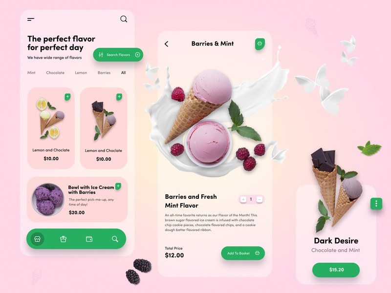Ice Cream Parlor App transparent blur webdesign vector flat  design ios modern mobile ui mobile app design mobile app mobile minimal paki designer ui design ui clean icecream branding