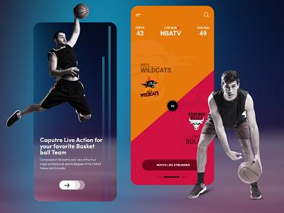 Basketball Live Score App game design flat minimal ui mobile app design illustration ios bright color sports game basket score live basketball flat  design