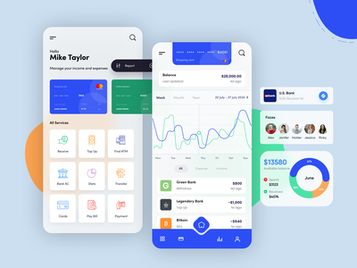 Finance App bright color minimal mobile app design flat modern moder android ios expense income payment credit card blurred background mobile finance graphic flat  design