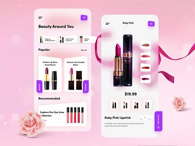 Beauty Around You - Beauty Products App Design feminism mobile app design mobile ui ui ios blurred background lipstick beauty product beautiful beauty salon cosmetics beauty