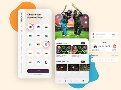Sports Concept app Design for Cricket mobile app design bright color modern ui creative design creative concept blurred blurred background ios game vs live streaming live match match teams scorecard