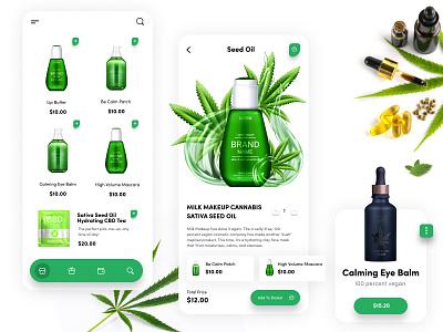 MMJ Beauty Products product shopping cart makeup bright ui clean minimal green modern ios app design ios app ios tea seed oil beauty marijuana mmj