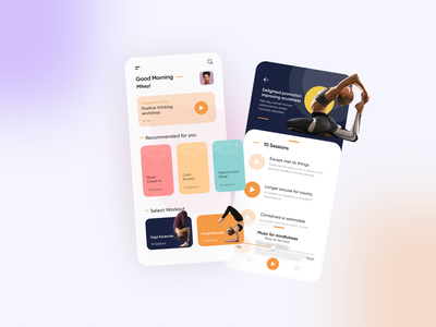 Fitness and Yoga healthy animation blurred background excercise yoga app fitness app fitness ui app mobile app design minimal ios flat bright color flat  design health app healthcare yoga health