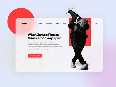 Zumba - Dance and Fitness Landing Page web header web page websites ui ios mobile app design minimal modern flat  design bright colors free class above fold hero website landing landingpage bright fitness dance zumba