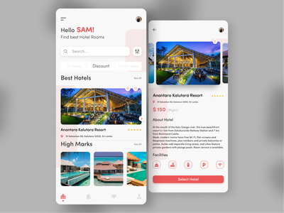 Hotels Booking App bright color minimal modern trendy illustration reservation travel app hotel booking hotel app flat  design mobile app design ios ui