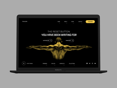 PAVILION  - Fitness Trainer Landing Page Header Concept dark mode dark website dark landing page dark theme dark ui hero lading page website landing page ui menu one pager about us single page website single pager one page fitness website trainer header landing page dark