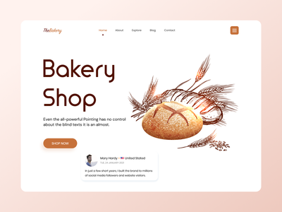 Bakery -  Landing Page Concept minimal footer testimonials about us single page website one pager online devliery online store products ecommerce landing page branding