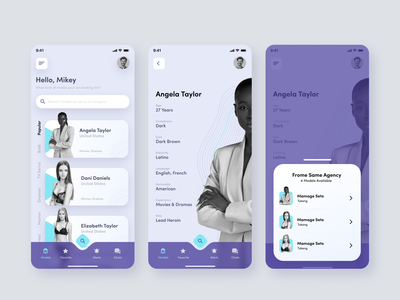 Find A Model - Model Agency Concept App mobile menu mobile dashboard user profile search search people mobile design ios agency model agency modelling clay models people model