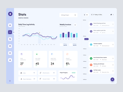 Project Management Dashboard UI Exploration project management ui design time log activity bar chart spline chart graphs flat dashboard dashboard design dashboard ui dashboard management project ui