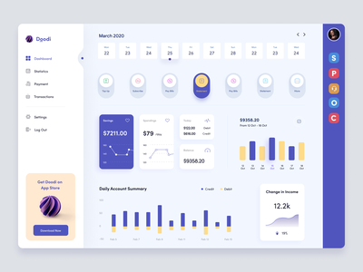 Doodi - Personal Wallet and Account Manager flat design admin panel dashboard ui dashboard trending ui flat ui treding unique modern ecommerce dashboard cms crm dashbaord financial design admin app interface uiux dashboad